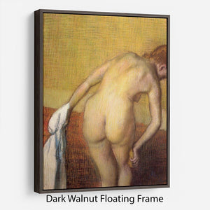 Woman Drying with towel and sponge by Degas Floating Frame Canvas - Canvas Art Rocks - 5