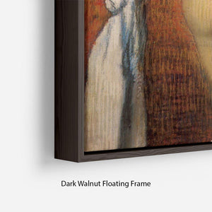 Woman Drying with towel and sponge by Degas Floating Frame Canvas - Canvas Art Rocks - 6