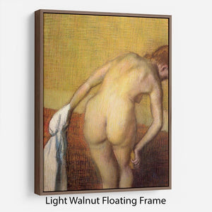 Woman Drying with towel and sponge by Degas Floating Frame Canvas - Canvas Art Rocks 7