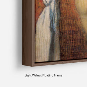 Woman Drying with towel and sponge by Degas Floating Frame Canvas - Canvas Art Rocks - 8