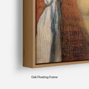 Woman Drying with towel and sponge by Degas Floating Frame Canvas - Canvas Art Rocks - 10