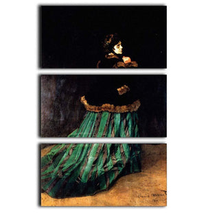 Woman In A Green Dress by Monet 3 Split Panel Canvas Print - Canvas Art Rocks - 1
