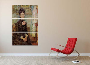Woman Sitting by a Cradle by Van Gogh 3 Split Panel Canvas Print - Canvas Art Rocks - 2