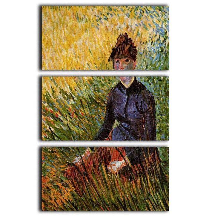 Woman Sitting in the Grass by Van Gogh 3 Split Panel Canvas Print