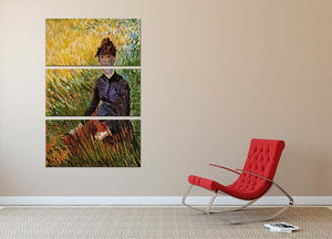 Woman Sitting in the Grass by Van Gogh 3 Split Panel Canvas Print - Canvas Art Rocks - 2