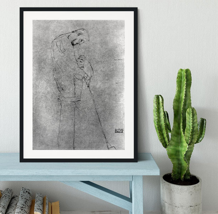 Woman and man standing in profile by Klimt Framed Print