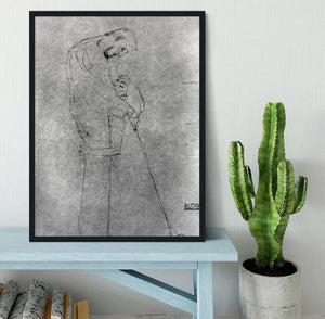 Woman and man standing in profile by Klimt Framed Print - Canvas Art Rocks - 2