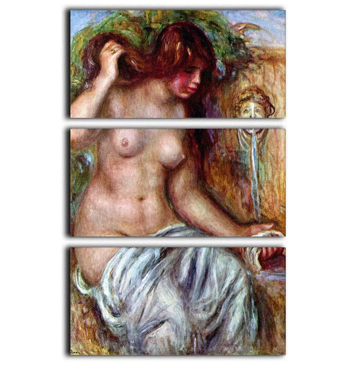 Woman at the Well by Renoir 3 Split Panel Canvas Print