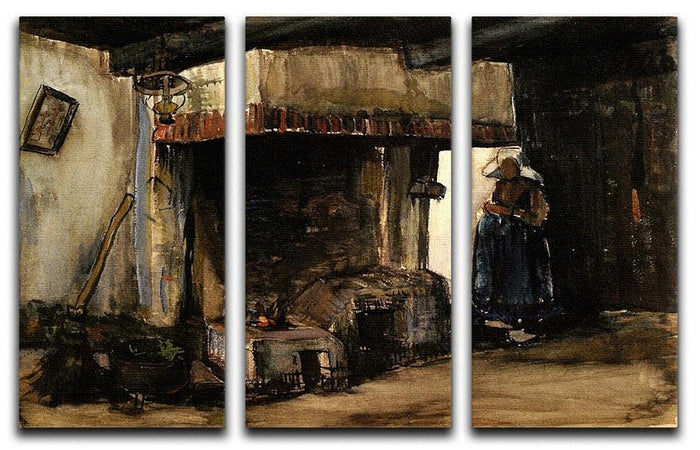 Woman by a Hearth by Van Gogh 3 Split Panel Canvas Print