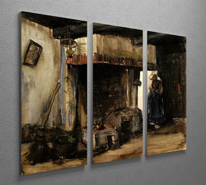Woman by a Hearth by Van Gogh 3 Split Panel Canvas Print - Canvas Art Rocks - 4