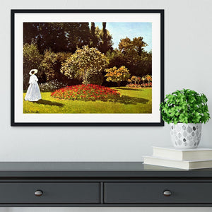 Woman in the garden by Monet Framed Print - Canvas Art Rocks - 1