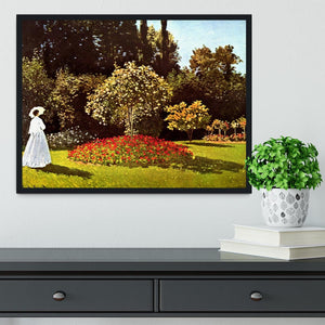 Woman in the garden by Monet Framed Print - Canvas Art Rocks - 2