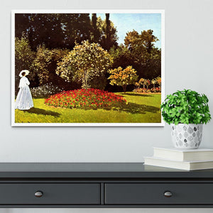 Woman in the garden by Monet Framed Print - Canvas Art Rocks -6