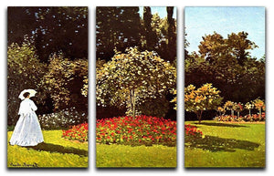 Woman in the garden by Monet Split Panel Canvas Print - Canvas Art Rocks - 4