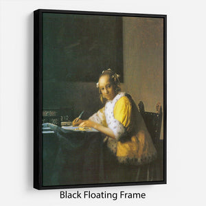 Woman in yellow by Vermeer Floating Frame Canvas - Canvas Art Rocks - 1