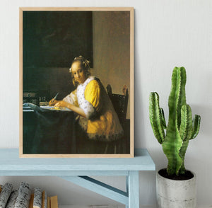 Woman in yellow by Vermeer Framed Print - Canvas Art Rocks - 4