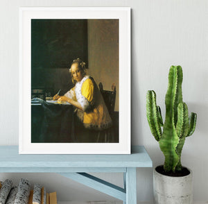 Woman in yellow by Vermeer Framed Print - Canvas Art Rocks - 5