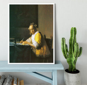 Woman in yellow by Vermeer Framed Print - Canvas Art Rocks -6