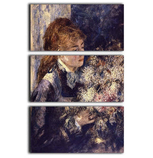 Woman with Lilacs by Renoir 3 Split Panel Canvas Print - Canvas Art Rocks - 1