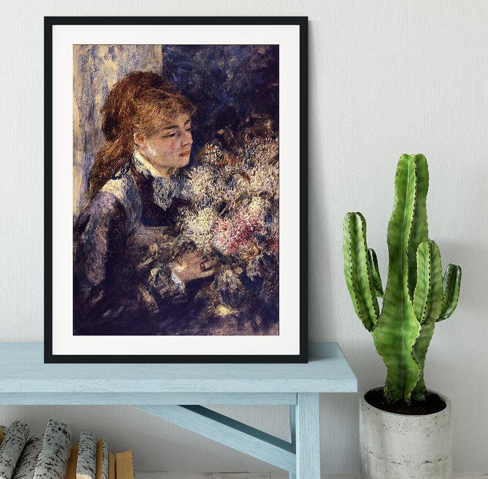 Woman with Lilacs by Renoir Framed Print