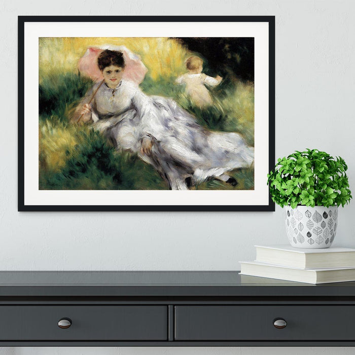 Woman with Parasol by Renoir Framed Print
