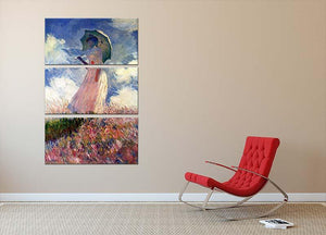 Woman with Parasol study by Monet 3 Split Panel Canvas Print - Canvas Art Rocks - 2