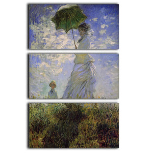 Woman with a parasol by Monet 3 Split Panel Canvas Print - Canvas Art Rocks - 1