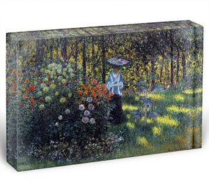 Woman with a parasol in the garden of Argenteuil by Monet Acrylic Block - Canvas Art Rocks - 1