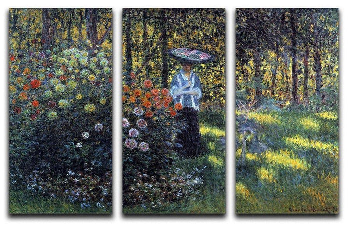 Woman with a parasol in the garden of Argenteuil by Monet Split Panel Canvas Print