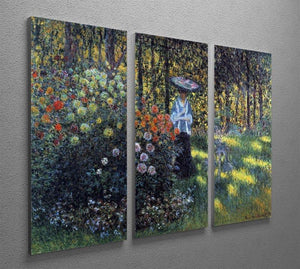 Woman with a parasol in the garden of Argenteuil by Monet Split Panel Canvas Print - Canvas Art Rocks - 4