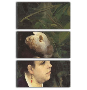 Woman with gull feathe Detail by Renoir 3 Split Panel Canvas Print - Canvas Art Rocks - 1