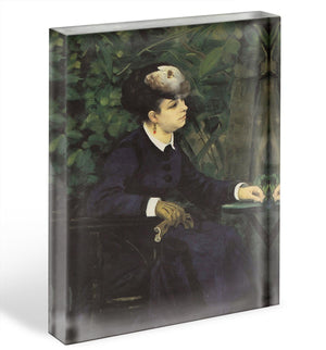 Woman with gull feather Woman in the garden by Renoir Acrylic Block - Canvas Art Rocks - 1