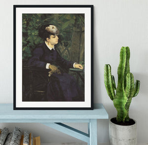 Woman with gull feather Woman in the garden by Renoir Framed Print - Canvas Art Rocks - 1