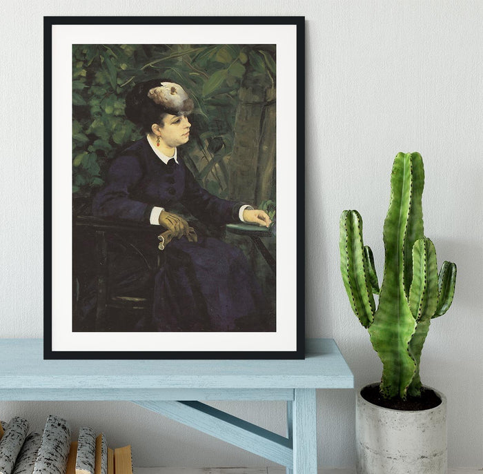 Woman with gull feather Woman in the garden by Renoir Framed Print