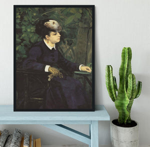 Woman with gull feather Woman in the garden by Renoir Framed Print - Canvas Art Rocks - 2