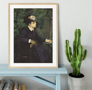 Woman with gull feather Woman in the garden by Renoir Framed Print - Canvas Art Rocks - 3