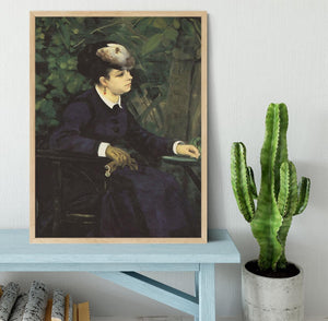 Woman with gull feather Woman in the garden by Renoir Framed Print - Canvas Art Rocks - 4