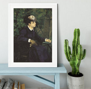 Woman with gull feather Woman in the garden by Renoir Framed Print - Canvas Art Rocks - 5