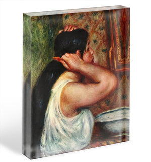 Woman with hair combs by Renoir Acrylic Block - Canvas Art Rocks - 1
