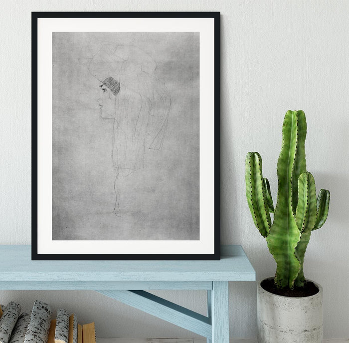 Woman with hat in profile by Klimt Framed Print