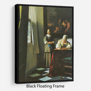 Woman with messenger by Vermeer Floating Frame Canvas - Canvas Art Rocks - 1