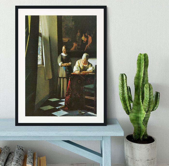 Woman with messenger by Vermeer Framed Print