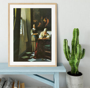 Woman with messenger by Vermeer Framed Print - Canvas Art Rocks - 3