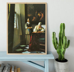 Woman with messenger by Vermeer Framed Print - Canvas Art Rocks - 4