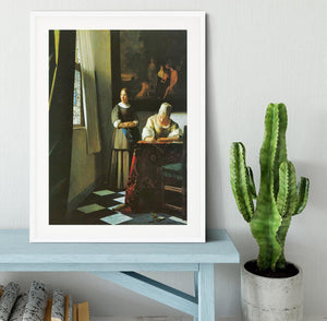 Woman with messenger by Vermeer Framed Print - Canvas Art Rocks - 5