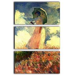 Woman with sunshade by Monet 3 Split Panel Canvas Print - Canvas Art Rocks - 1