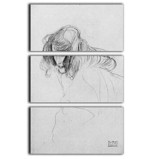 Womans head in three quarters profile by Klimt 3 Split Panel Canvas Print - Canvas Art Rocks - 1