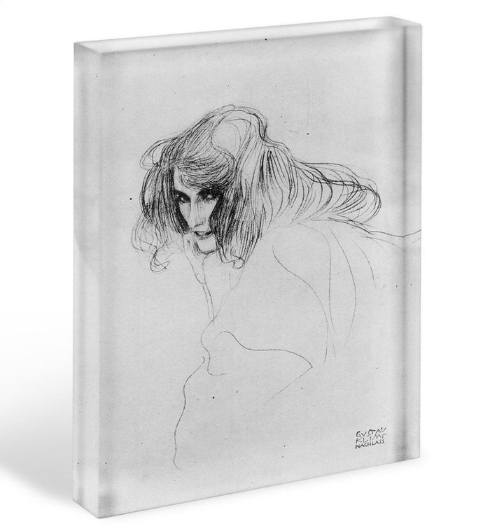 Womans head in three quarters profile by Klimt Acrylic Block