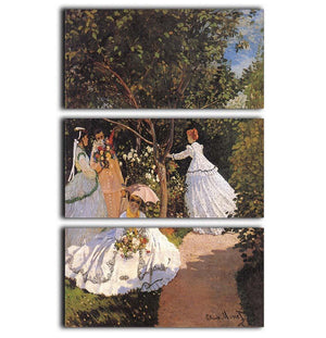Women in the Garden by Monet 3 Split Panel Canvas Print - Canvas Art Rocks - 1