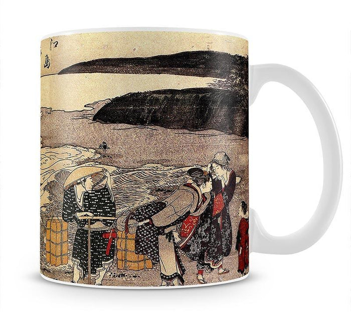 Women on the beach of Enoshima by Hokusai Mug
